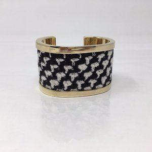 ST JOHN Black and White Houndstooth Cuff Bracelet